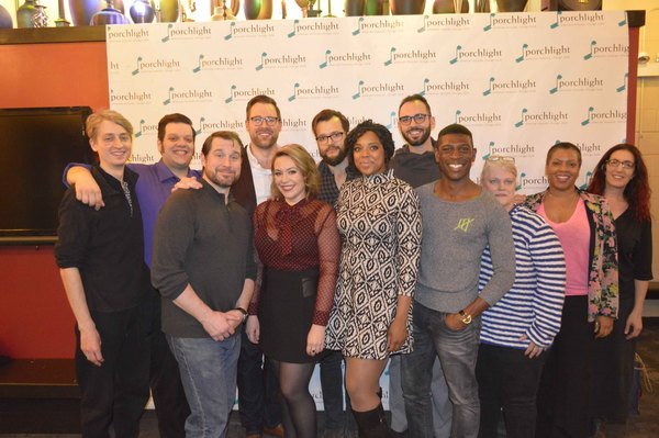 (L to R) Percussionist Tony Scandora, Actors Vasily Deris, Karl Hamilton, Greg Zawada, Khaki Pixley, Robert Quintanilla, Sharriese Hamilton, Patrick Byrnes, Curtis Bannister, and Nancy Kolton with Director Lili-Anne Brown and Music Director Andra Velis Si