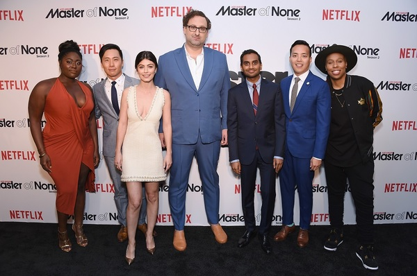 NEW YORK, NY - MAY 11:  (L-R) Danielle Brooks, Kelvin Yu, Alessandra Mastronardi, Eric Wareheim, Aziz Ansari, Alan Yang and Lena Waithe attend the Netflix Master Of None S2, Premiere NY Screening 2017 on May 11, 2017 in New York City.  (Photo by Michael L