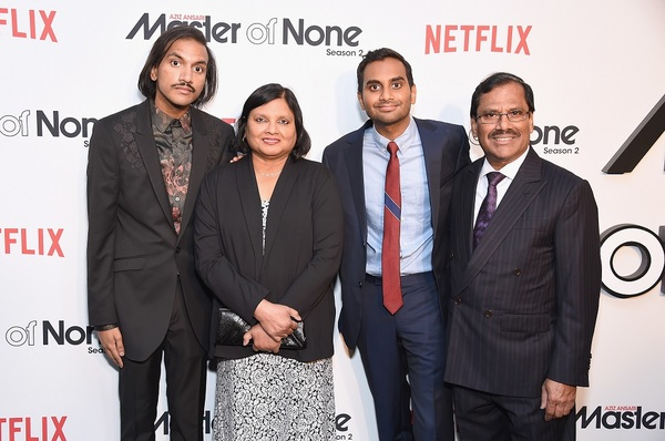 NEW YORK, NY - MAY 11:  (L-R) Aniz Ansari, Fatima Ansari, Aziz Ansari and Shoukath Ansari attend the Netflix Master Of None S2, Premiere NY Screening 2017 on May 11, 2017 in New York City.  (Photo by Michael Loccisano/Getty Images for Netflix) *** Local C