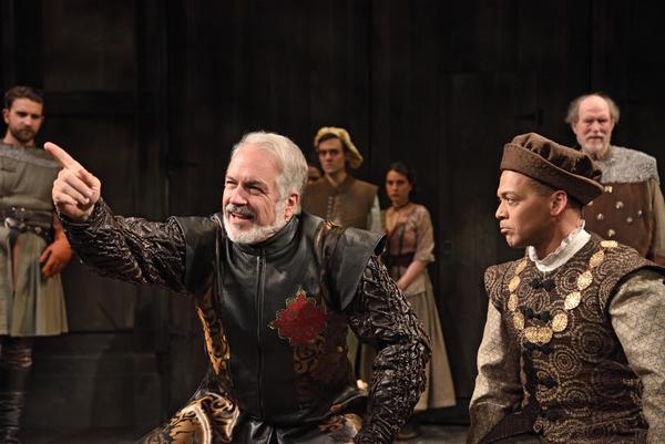 Fred Sullivan, Jr. as Commander Fernan Gomez and Joe Wilson, Jr. as Esteban, surrounded by the company