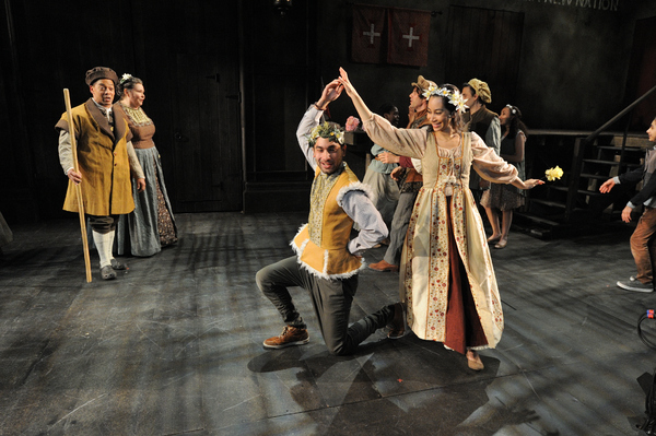 Joe Wilson, Jr. as Esteban, Janice Duclos as Juana Roja. Forefront: Orlando Hernandez as Frondoso and Octavia Chavez-Richmond as Laurencia, surrounded by the cast