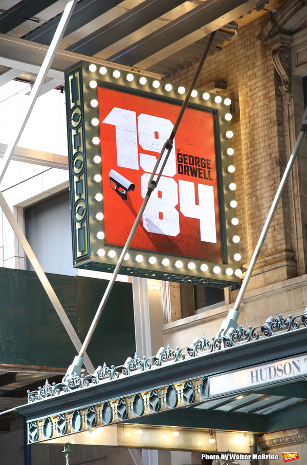 Theatre Marquee Unveiling for 1984  starring Tom Sturbridge, Olivia Wilde and Reed Birney at the Hudson Theatre on May 12, 2017 in New York City.