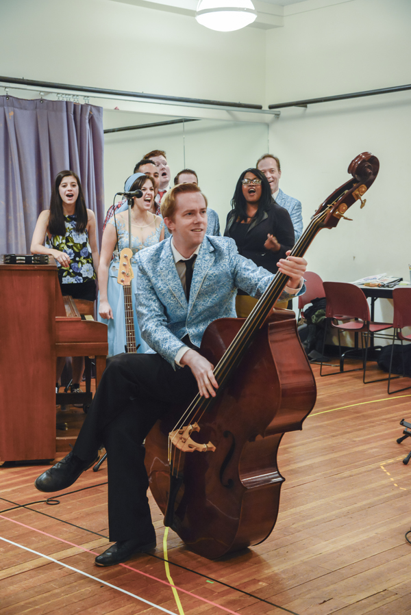 The cast of BUDDY: THE BUDDY HOLLY STORY in rehearsal Photo