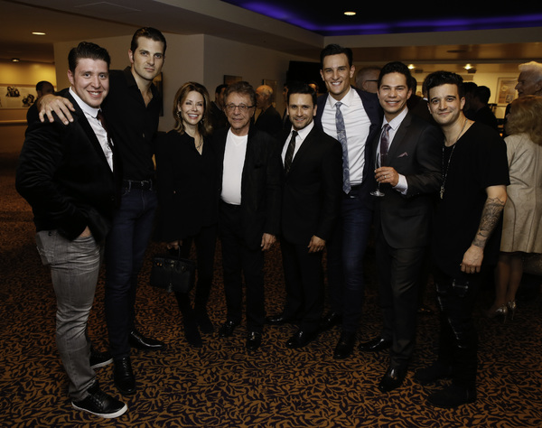 Frankie Valli, center in white T-shirt, with Jackie Jacobs on his left, with the cast members of JERSEY BOYS