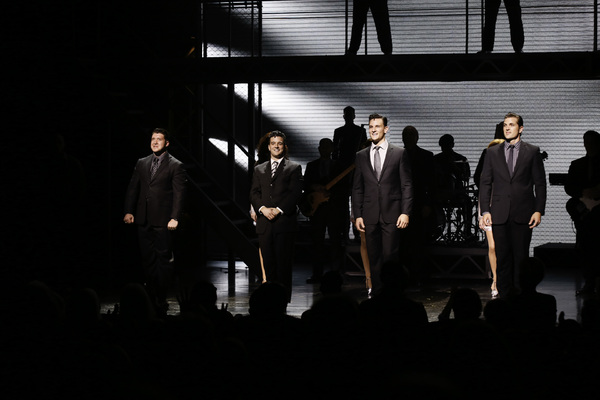 Cast members Matthew Dailey, Mark Ballas, Cory Jeacoma and Keith Hines take their bows during the curtain call