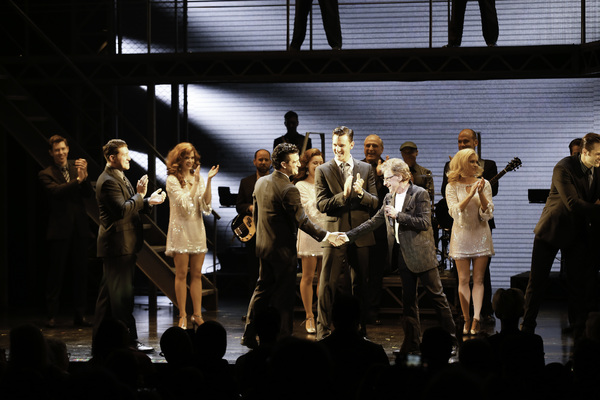 Cast member Mark Ballas and Frankie Valli shake hands during the curtain call