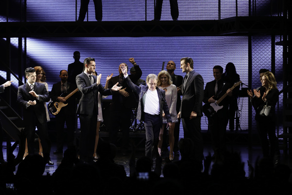 Center, Frankie Valli speaks during the curtain call for the opening night performance of JERSEY BOYS at the Ahmanson