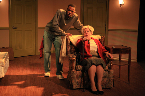 (left to right) Terry Bell and Belinda Bremner in Irish Theatre of Chicago's world premiere of THE MY WAY RESIDENTIAL by Geraldine Aron, directed by Kevin Theis. Photo by Emily Schwartz.