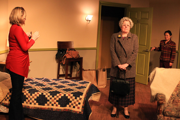 (left to right) Carolyn Kruse, Belinda Bremner and Christine Bunuan in Irish Theatre of Chicago's world premiere of THE MY WAY RESIDENTIAL by Geraldine Aron, directed by Kevin Theis. Photo by Emily Schwartz.