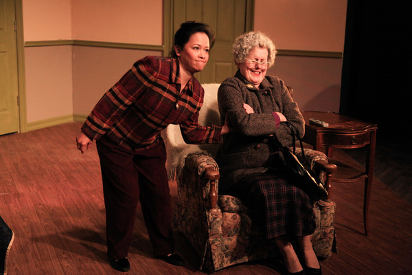 (left to right) Christine Bunuan and Belinda Bremner in Irish Theatre of Chicago's world premiere of THE MY WAY RESIDENTIAL by Geraldine Aron, directed by Kevin Theis. Photo by Emily Schwartz.