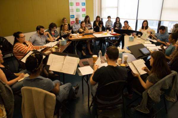 The first read-through of Sheila Callaghan and Daniella Topol's (NOT) WATER with the entire cast and design team.   Photo credit: Kyle Marian Viterbo/Guerilla Science