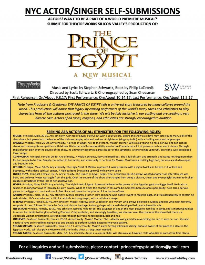 THE PRINCE OF EGYPT Premiere Puts Out Self-Submissions Call for 'Diverse Cast'