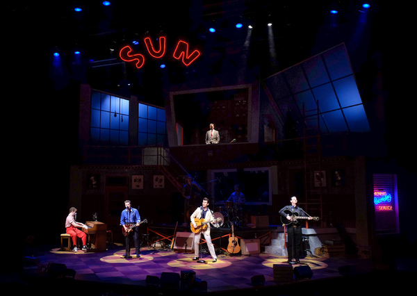 The cast of Million Dollar Quartet, directed by Hunter Foster. Photo by Huth Photography.