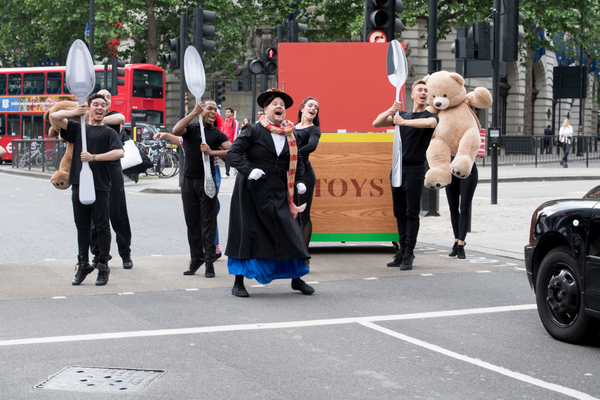 James Corden and cast of Crosswalk the Musical MARY POPPINS