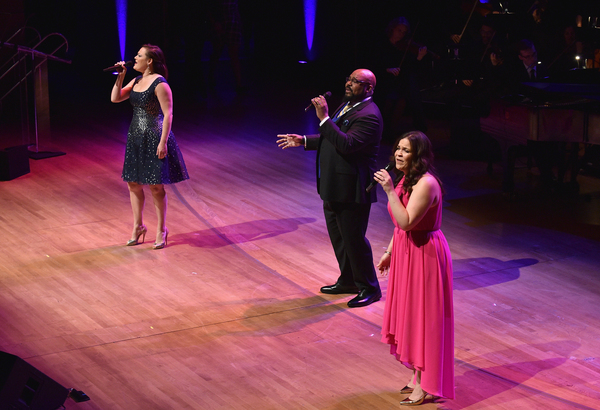 Ashley Brown, James Monroe Iglehart and Lindsay Mendez