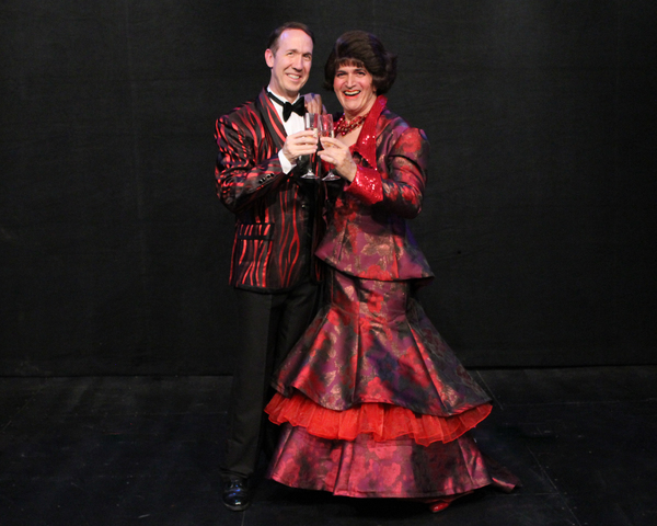 """Brian Runbeck as Georges and Joel Briel as Albin in Cortland Repertory Theatre's production of the flamboyant musical """"La Cage Aux Follesâ€� running from June 21 â€"""" July 8."""