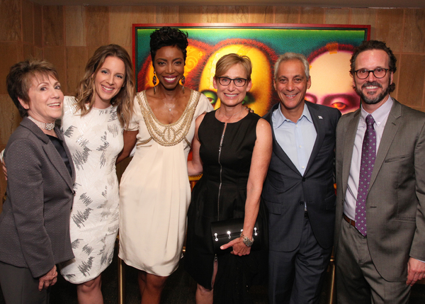 Barbara Gaines, Jessie Mueller, Heather Headley, Amy Rule, Mayor Rahm Emanuel, and Rick Boynton