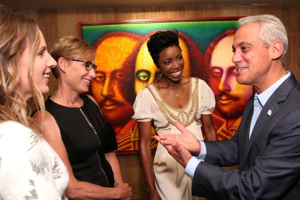 Jessie Mueller, Amy Rule, Heather Hadley, and Mayor Rahm Emanuel