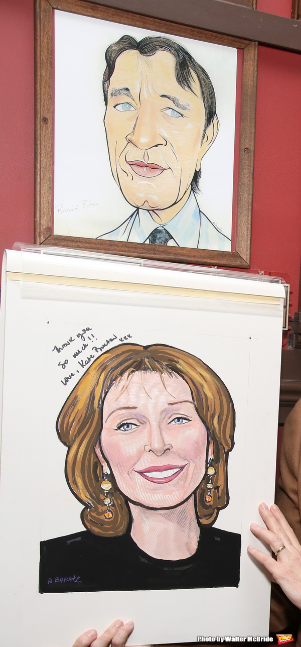 Kate Burton with Richard Burton caricatures