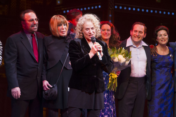 Carole King (Music/Lyrics) during the curtain call on Press Night for Beautiful - The Carole King Musical at the Aldwych Theatre, London, England on 24th February 2015. (Credit: Dan Wooller/wooller.com).