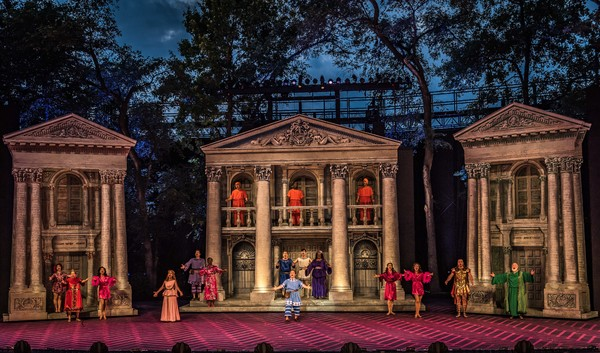 The company in The Muny's A FUNNY THING HAPPENED ON THE WAY TO THE FORUM.
