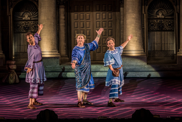John Tartaglia, Mark Linn-Baker and Jeffrey Schecter in The Muny's A FUNNY THING HAPPENED ON THE WAY TO THE FORUM.