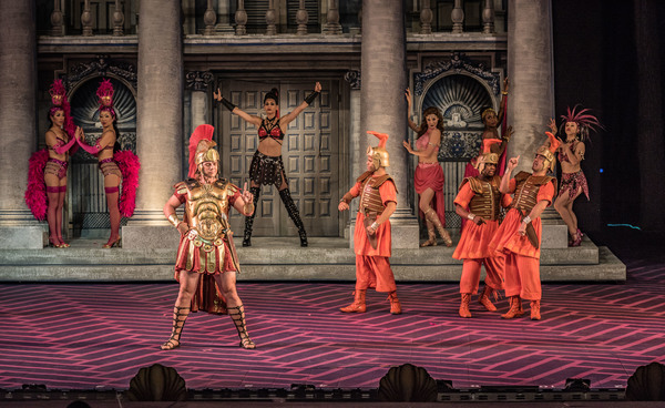 The cast in The Muny's A FUNNY THING HAPPENED ON THE WAY TO THE FORUM.