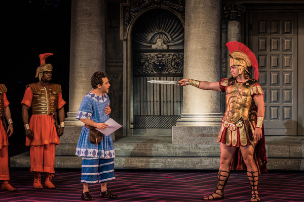 Tommy Scrivens, Jeffrey Schecter and Nathaniel Hackmann in The Muny's A FUNNY THING HAPPENED ON THE WAY TO THE FORUM.