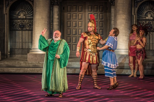 Whit Reichert, Nathaniel Hackmann and Jeffrey Schecter in The Muny's A FUNNY THING HAPPENED ON THE WAY TO THE FORUM.
