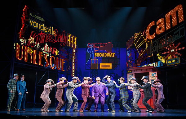The cast of Guys and Dolls, with music and lyrics by Frank Loesser, book by Abe Burrows and Jo Swerling, directed and choreographed by Josh Rhodes, runs July 2 - August 13, 2017 at The Old Globe. Photo by Jim Cox.