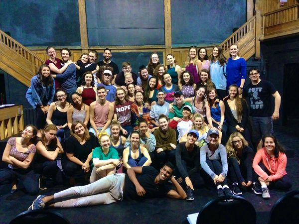 Photo by David Atkinson: The cast of The Drowsy Chaperone on the first day of rehearsals in the Annex Theatre