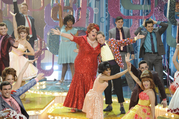 HAIRSPRAY LIVE! -- Pictured: (l-r) Harvey Fierstein as Edna Turnblad, Martin Short as Wilbur Turnblad -- (Photo by: Colleen Hayes/NBC)