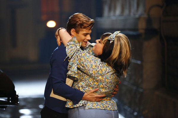 HAIRSPRAY LIVE! -- Pictured: (l-r) Garrett Clayton as Link Larkin, Maddie Baillio as Tracy Turnblad -- (Photo by: Justin Lubin/NBC)