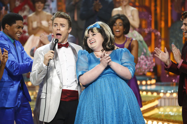 HAIRSPRAY LIVE! -- Pictured: (l-r) Derek Hough as Corny Collins, Maddie Baillio as Tracy Turnblad -- (Photo by: Justin Lubin/NBC)