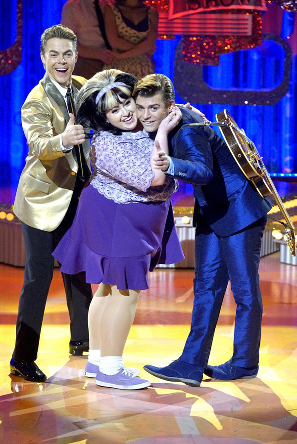 HAIRSPRAY LIVE! -- Pictured: (l-r) Derek Hough as Corny Collins, Maddie Baillio as Tracy Turnblad, Garrett Clayton as Link Larkin -- (Photo by: Paul Drinkwater/NBC)