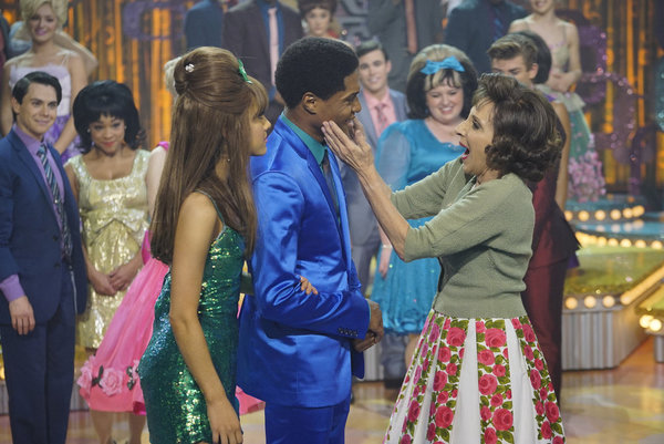 HAIRSPRAY LIVE! -- Pictured: (l-r) Ariana Grande as Penny Pingleton, Ephraim Sykes as Seaweed J. Stubbs, Andrea Martin as Prudy Pingleton -- (Photo by: Paul Drinkwater/NBC)