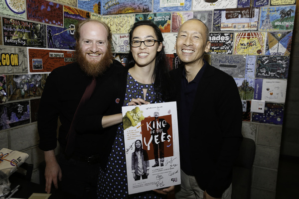 Director Joshua Kahan Brody, playwright Lauren Yee and cast member Francis Jue