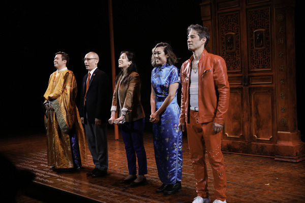 The cast takes their bow during the opening night performance of KING OF YEES at CTG's Kirk Douglas Theatre