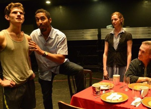 Rehearsal Photo of Jim Curry (Sean McCoy), Starbuck (Brian Homer), Lizzie Curry (Jess Photo