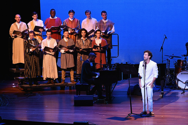 """NEW YORK, NY - JULY 17:  Actor Brandon Uranowitz performs onstage with the Brooklyn Youth Chorus during the annual Broadway Stands Up For Freedom"""" concert hosted by the NYCLU at Jack H. Skirball Center for the Performing Arts on July 17, 2017 in New York"""