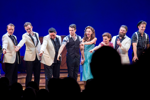 Geoff Packard, James Nathan Hopkins, Joey Pero, Corey Cott, Laura Osnes, Beth Leavel, Photo