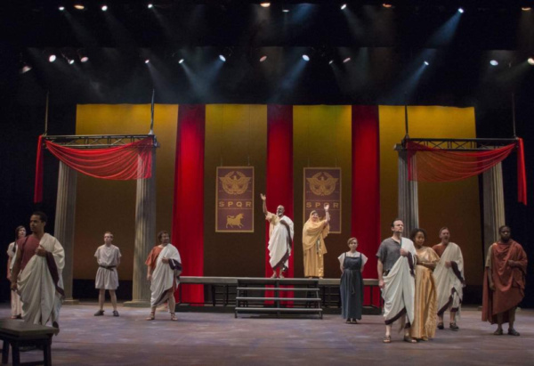 JULIUS CAESAR  Directed by Janice L Blixt Scenic Design by Jeromy Hopgood  Lighting Design by David Allen Stoughton Costume Design by Melanie Schuessler Bond Properties Design by Sera Shearer Photo Credit: Melissa Szymke Adams