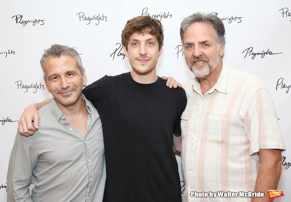 Director David Cromer and playwright Max Posner with Playwrights Horizons artistic director Tim Sanford