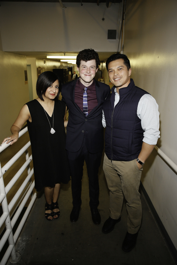 "From left, cast members Maria Elena Ramirez, Adam Langdon and actor Vincent Rodriguez III pose back stage after the opening night performance of ""The Curious Incident of the Dog in the Night-Time"" at Center Theatre Group/Ahmanson Theatre on Thursday, Augu"