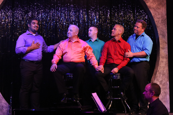 "Dominic Dowdy-Windsor (left), singing ""Family,"" with Ken Haller, Sean Michael, Keith Thompson, and Mike Dowdy-Windsor, with Nate Jackson on the piano, in OUT ON BROADWAY: THE THIRD COMING"
