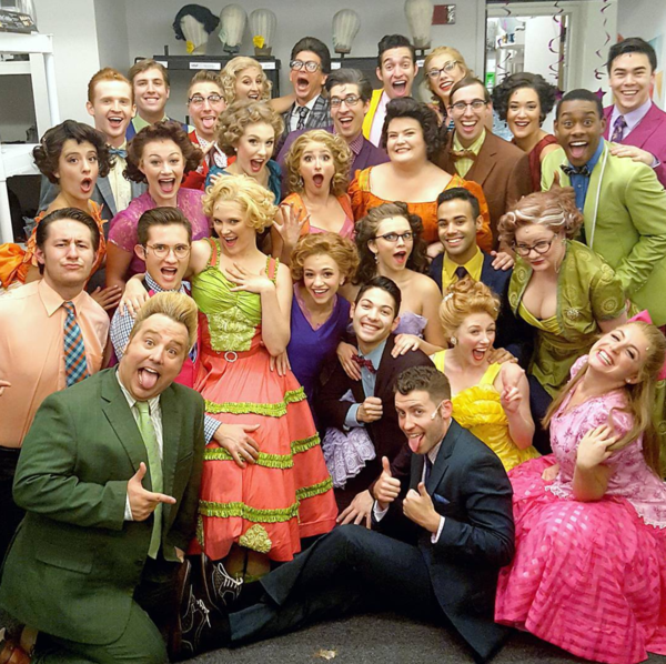 """Grease (Regional): @justdolphy Maine State Music Theatre's cast of """"Grease"""" is all smiles after 3 STRAIGHT WEEKS of 9 shows each. #SIP @officialbroadwayworld @mainestatemusic Kevin Nietzel, Natalie Perez-Duel, Mickey White, Adolpho Blaire, John K. Kramer,"""