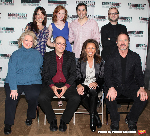 "Leslie Kritzer, Erin Mackey, Matthew Scott, Euan Morton.Barbara Cook, James Lapine, Vanessa Williams & Tom Wopat attending the Meet & Greet the cast of the Roundabout Theatre Company's production of ""SONDHEIM 0n SONDHEIM"" at the their rehearsal studios in"