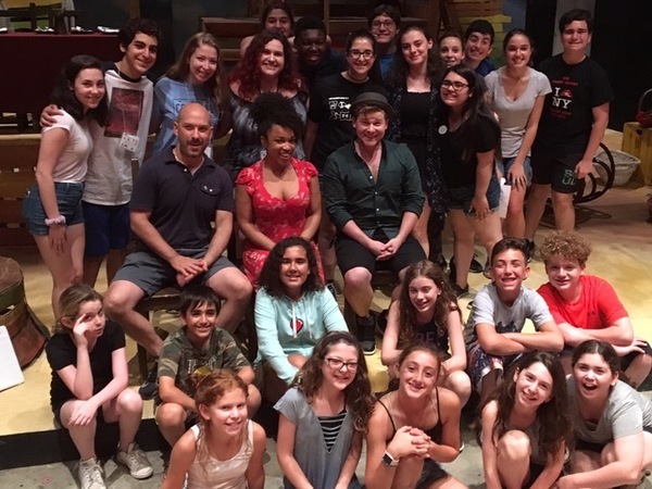 Mat Eisenstein, Usdan Summer Camp for the Arts alum and Assistant Curator/Keyboards for CHARLIE AND THE CHOCOLATE FACTORy (seated, center) and two of his 'CHARLIE' castmates -  Monette McKay (female ensemble, Understudy - Violet Beauregard) and F. Michael