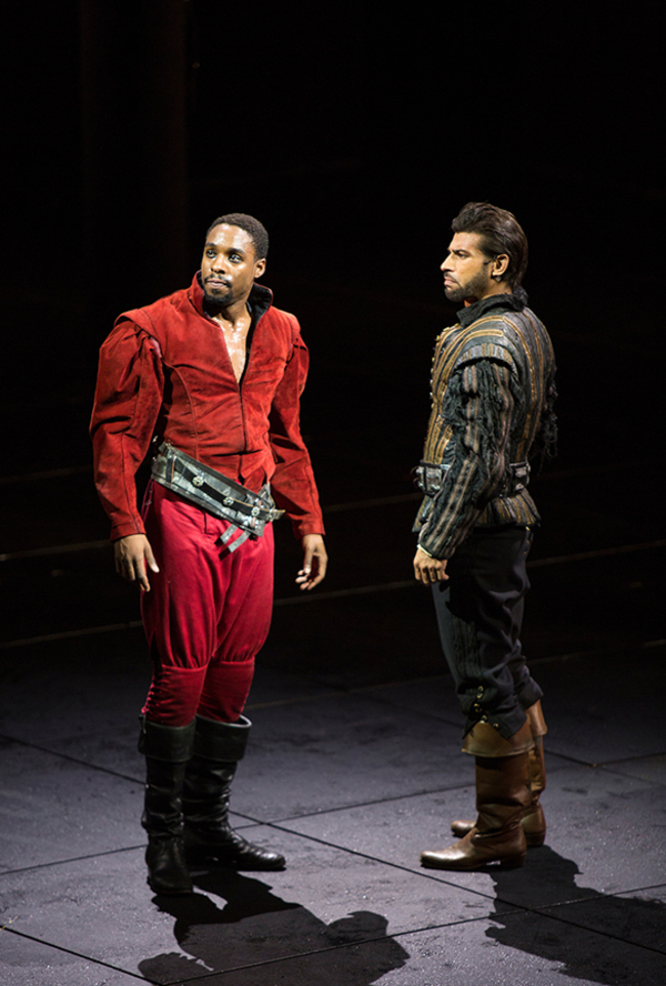 (from left) Grantham Coleman as Hamlet and Ian Lassiter as Horatio in Hamlet, by William Shakespeare, directed by Barry Edelstein, running August 6 - September 10, 2017. Photo by Jim Cox.