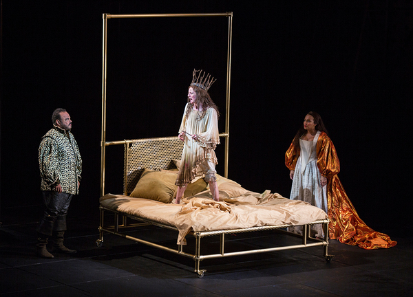 (from left) Cornell Womack as King Claudius, Talley Beth Gale as Ophelia, and Opal Al Photo
